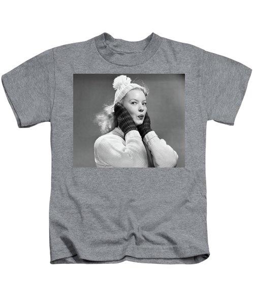 1950s Young Woman Pursing Lips Hands Kids T-Shirt