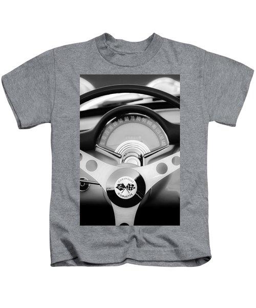1957 Chevrolet Corvette Convertible Steering Wheel 2 Kids T-Shirt