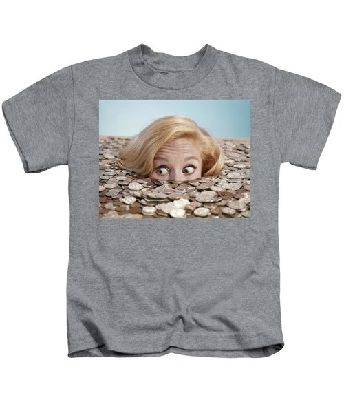 1960s Startled Bug-eyed Blond Young Kids T-Shirt