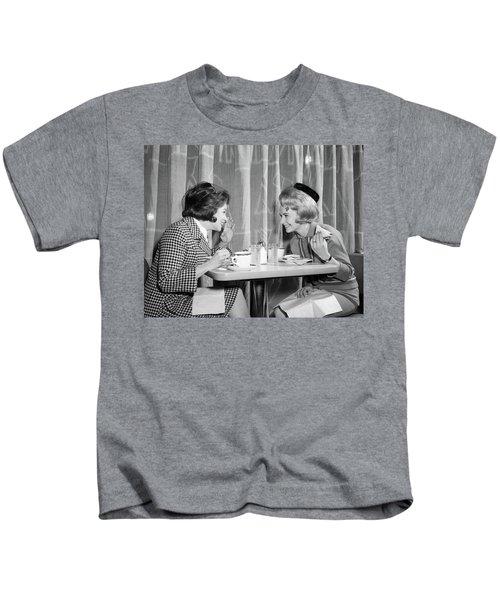 1960s Two Women Gossiping At Lunch Kids T-Shirt