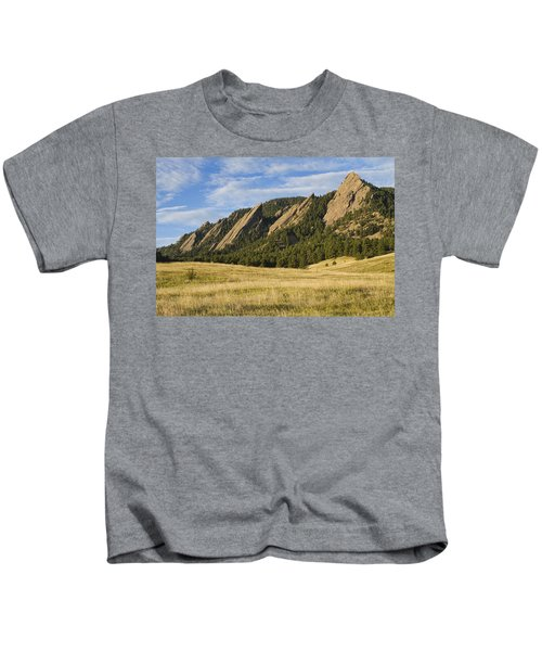Flatirons With Golden Grass Boulder Colorado Kids T-Shirt