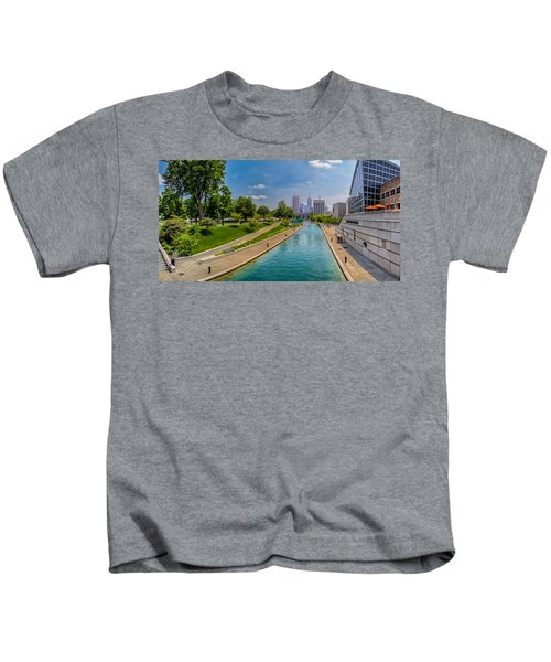 Indianapolis Skyline From The Canal Kids T-Shirt