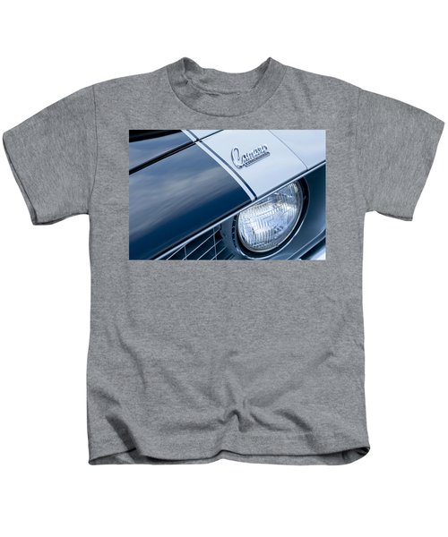 Kids T-Shirt featuring the photograph 1969 Chevrolet Camaro Z-28 Emblem by Jill Reger