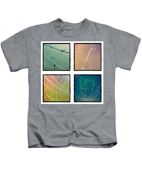 4 Color Web Droplets Kids T-Shirt