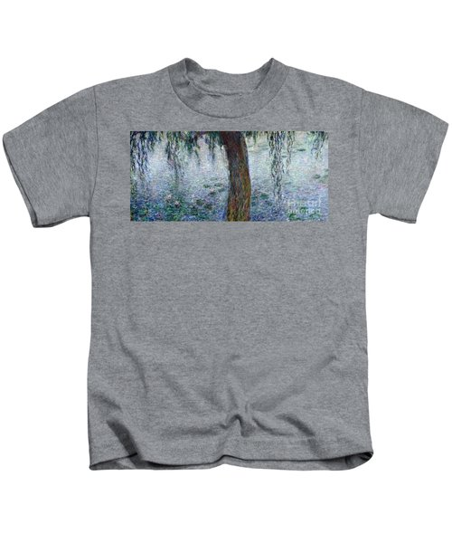 Waterlilies Morning With Weeping Willows Kids T-Shirt