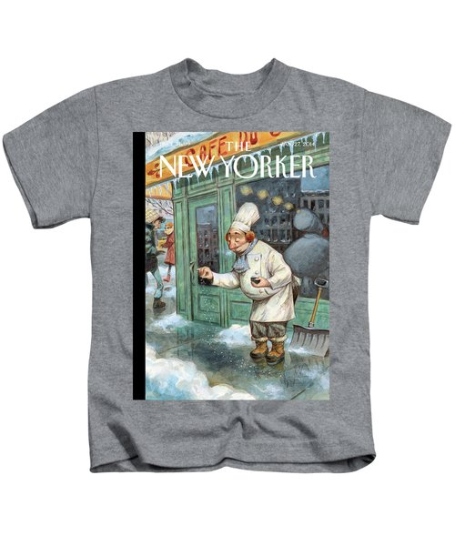 A Chef Lightly Pinches Salt On The Sidewalk Kids T-Shirt