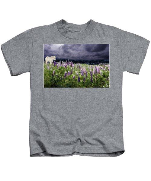 A Childs Dream Among Lupine Kids T-Shirt