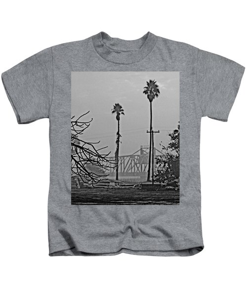 a Delta drawbridge in the morning mist Kids T-Shirt
