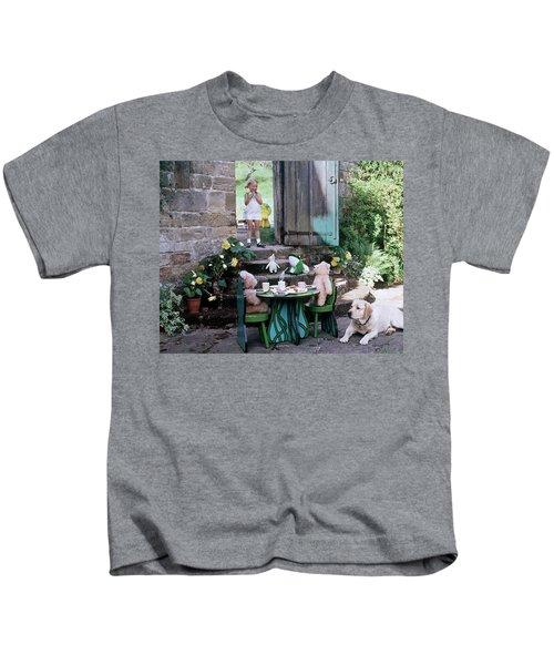A Dog Sitting Next To Two Teddy Bears Having Kids T-Shirt