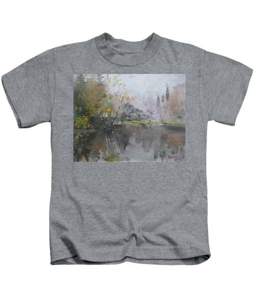 A Foggy Fall Day By The Pond  Kids T-Shirt