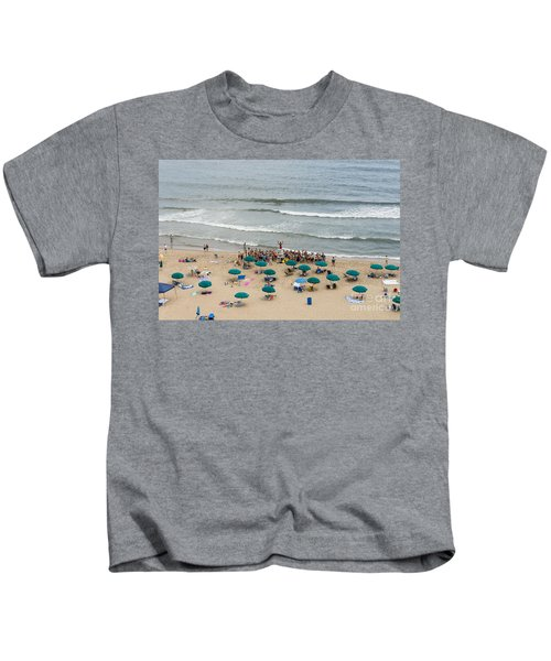 A Lifeguard Gives A Safety Briefing To Beachgoers In Ocean City Maryland Kids T-Shirt