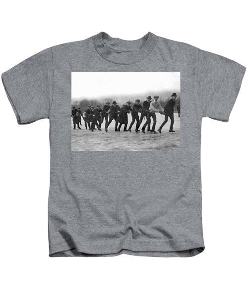A Line Of Ice Skaters Kids T-Shirt