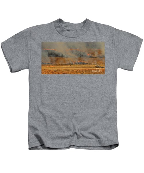 A Lone Firefighter On The Norbeck Prescribed Fire. Kids T-Shirt