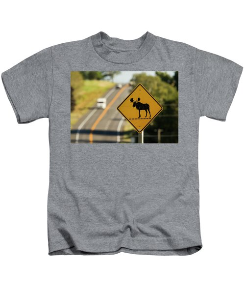 A Sign For Moose In Maine Kids T-Shirt