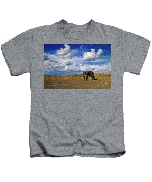 African Elephant Walking Masai Mara Kids T-Shirt