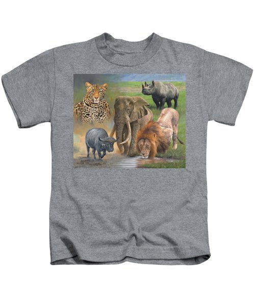 Africa's Big Five Kids T-Shirt by David Stribbling