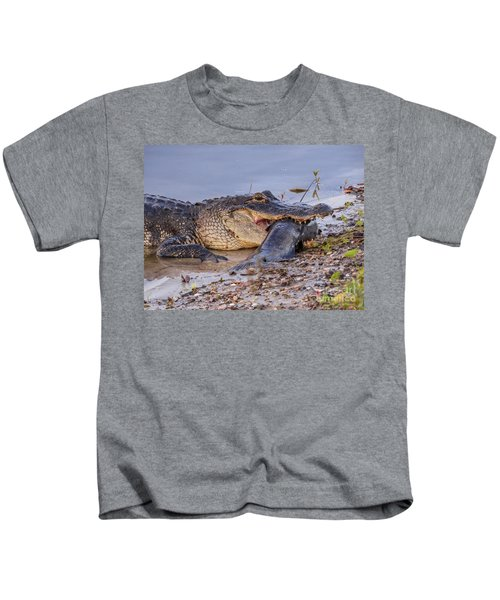 Alligator With A Fish Kids T-Shirt