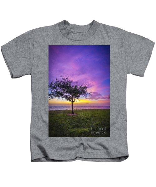 Alone At Sunset Kids T-Shirt