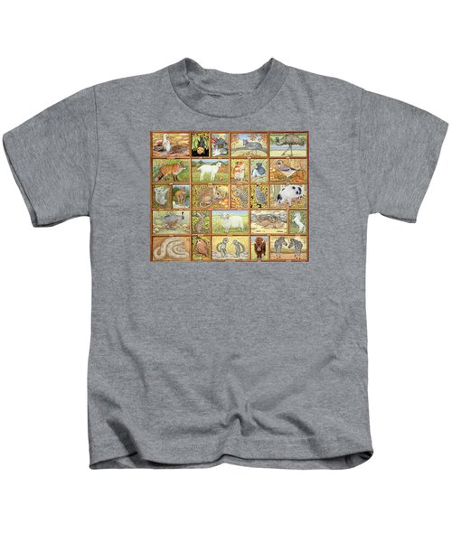 Alphabetical Animals Kids T-Shirt by Ditz