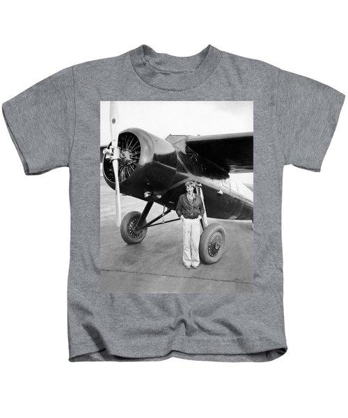 Amelia Earhart And Her Plane Kids T-Shirt