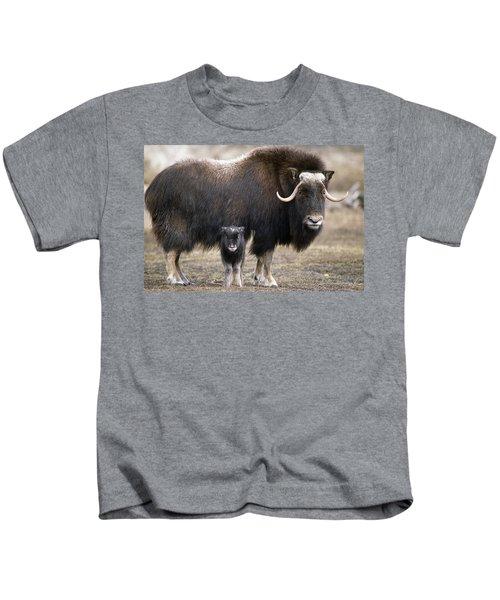 An Adult Musk Ox And Calf Standing Kids T-Shirt