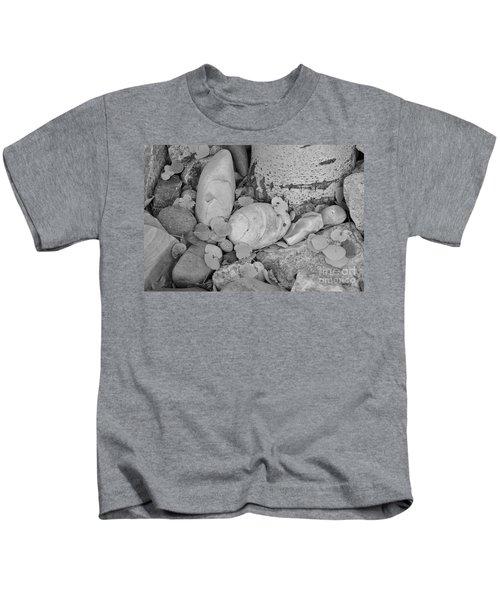 Aspen Leaves On The Rocks - Black And White Kids T-Shirt