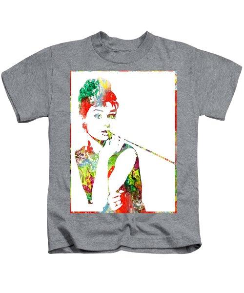 Audrey Hepburn - Watercolor Kids T-Shirt