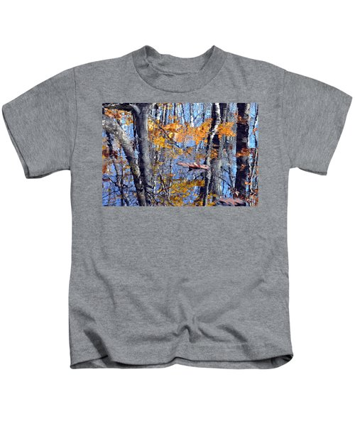 Autumn Reflection With Leaf Kids T-Shirt