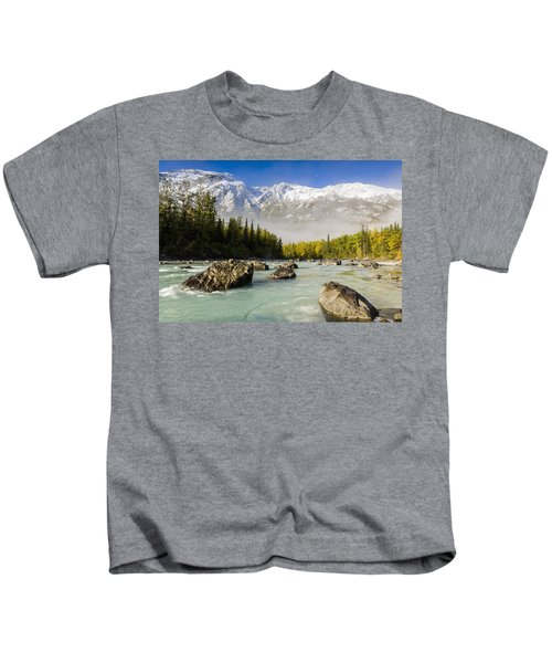 Autumns Colors Contrast With Winters Kids T-Shirt by Ray Bulson