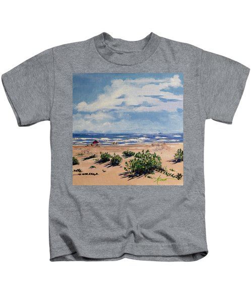 Beach Scene On Galveston Island Kids T-Shirt