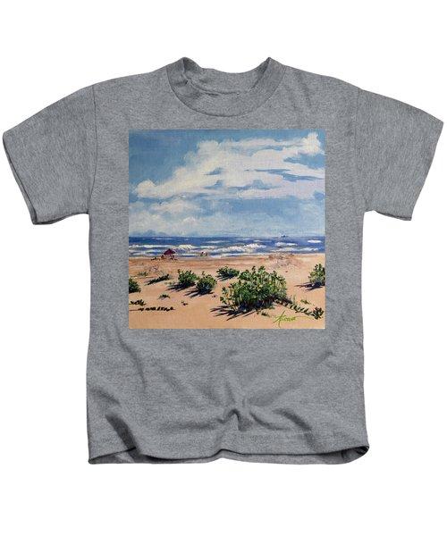 Beach Scene On Galveston Island Kids T-Shirt