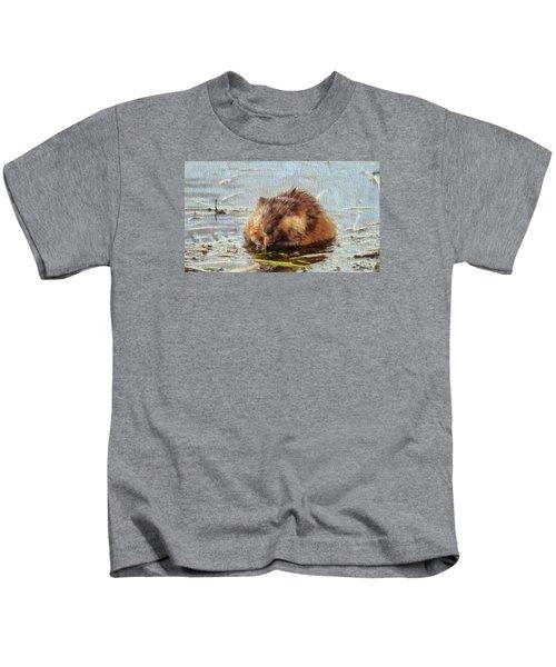 Beaver Portrait On Canvas Kids T-Shirt