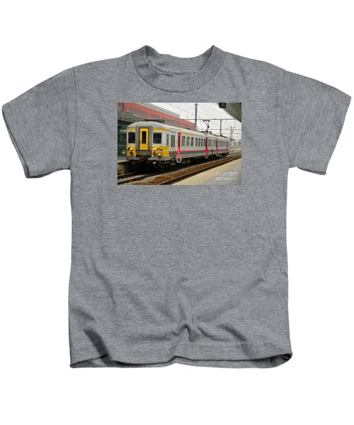 Belgium Railways Commuter Train At Brugge Railway Station Kids T-Shirt