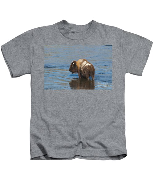 Bison Crossing River Kids T-Shirt