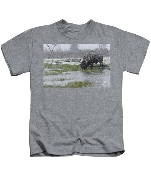 Bison In Snow Storm Kids T-Shirt