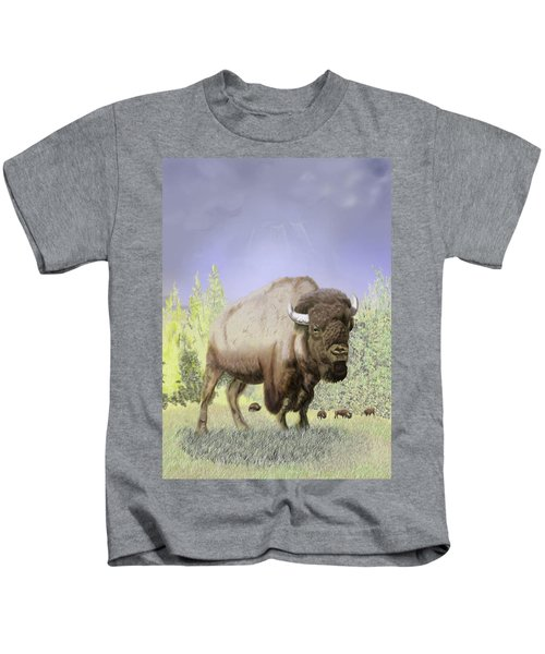 Bison On The Range Kids T-Shirt