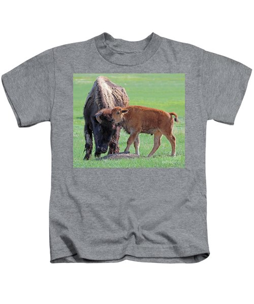 Bison With Young Calf Kids T-Shirt