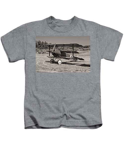 Black And White 1917 Fokker Dr.1 Triplane Red Barron Kids T-Shirt