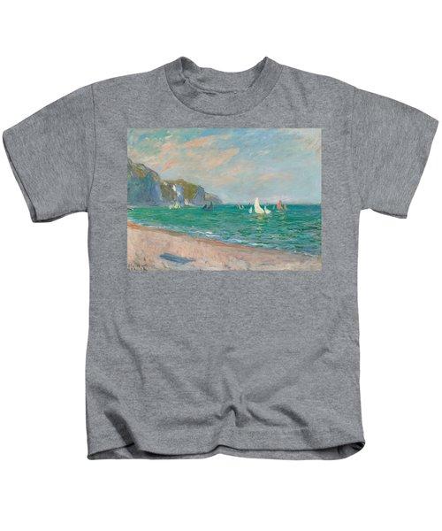 Boats Below The Pourville Cliffs Kids T-Shirt