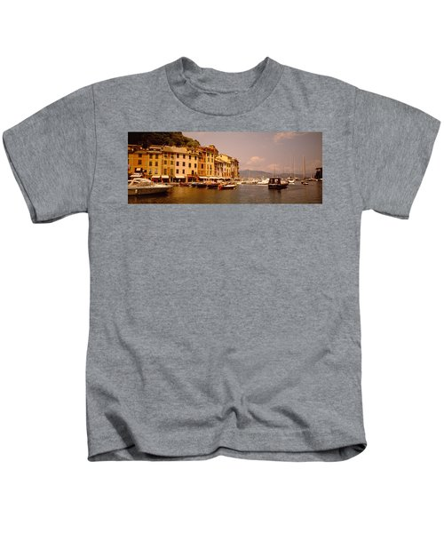 Boats In A Canal, Portofino, Italy Kids T-Shirt