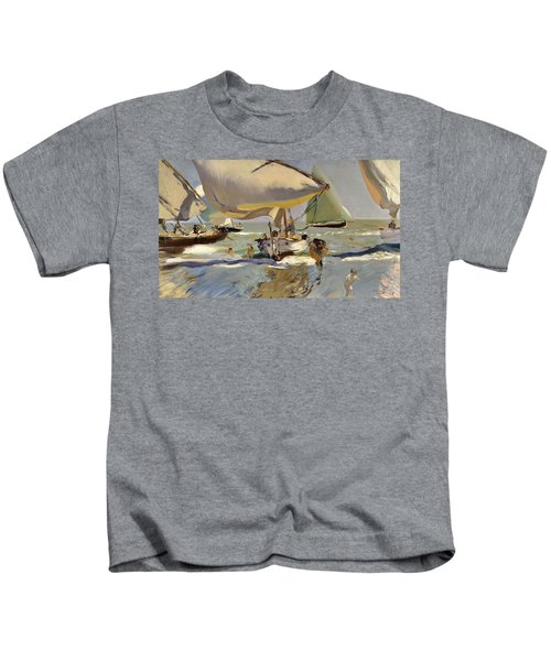 Boats On The Shore Kids T-Shirt