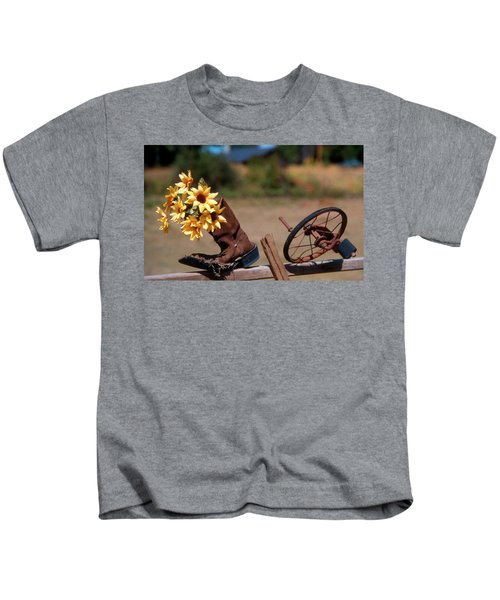 Boot With Flowers Kids T-Shirt