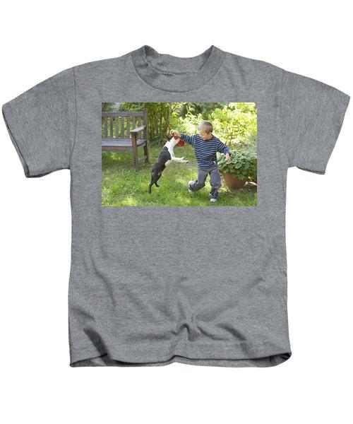 Boston Terrier With Boy Kids T-Shirt