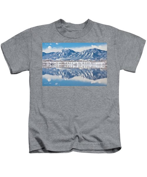 Boulder Reservoir Flatirons Reflections Boulder Colorado Kids T-Shirt