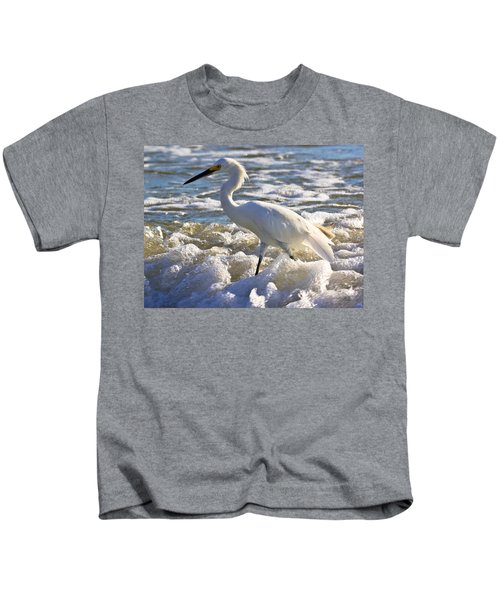 Bubbles Around Snowy Egret Kids T-Shirt