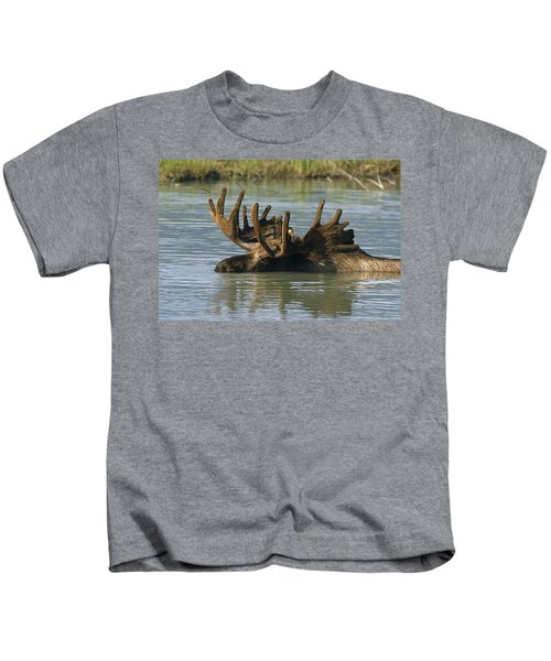 Bull Moose In Deep Pond Captive Sc Kids T-Shirt