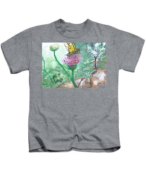 Butterfly On Flower  Kids T-Shirt
