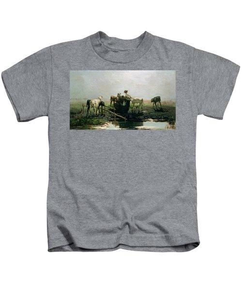 Calves At A Pond, 1863 Kids T-Shirt