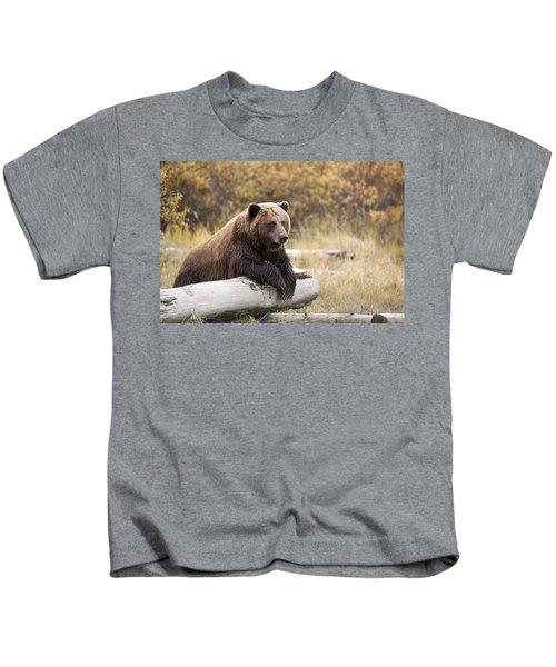 Captive Adult Brown Bear Rests On A Log Kids T-Shirt