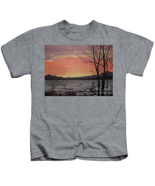 Caucomgomoc Lake Sunset In Maine Kids T-Shirt